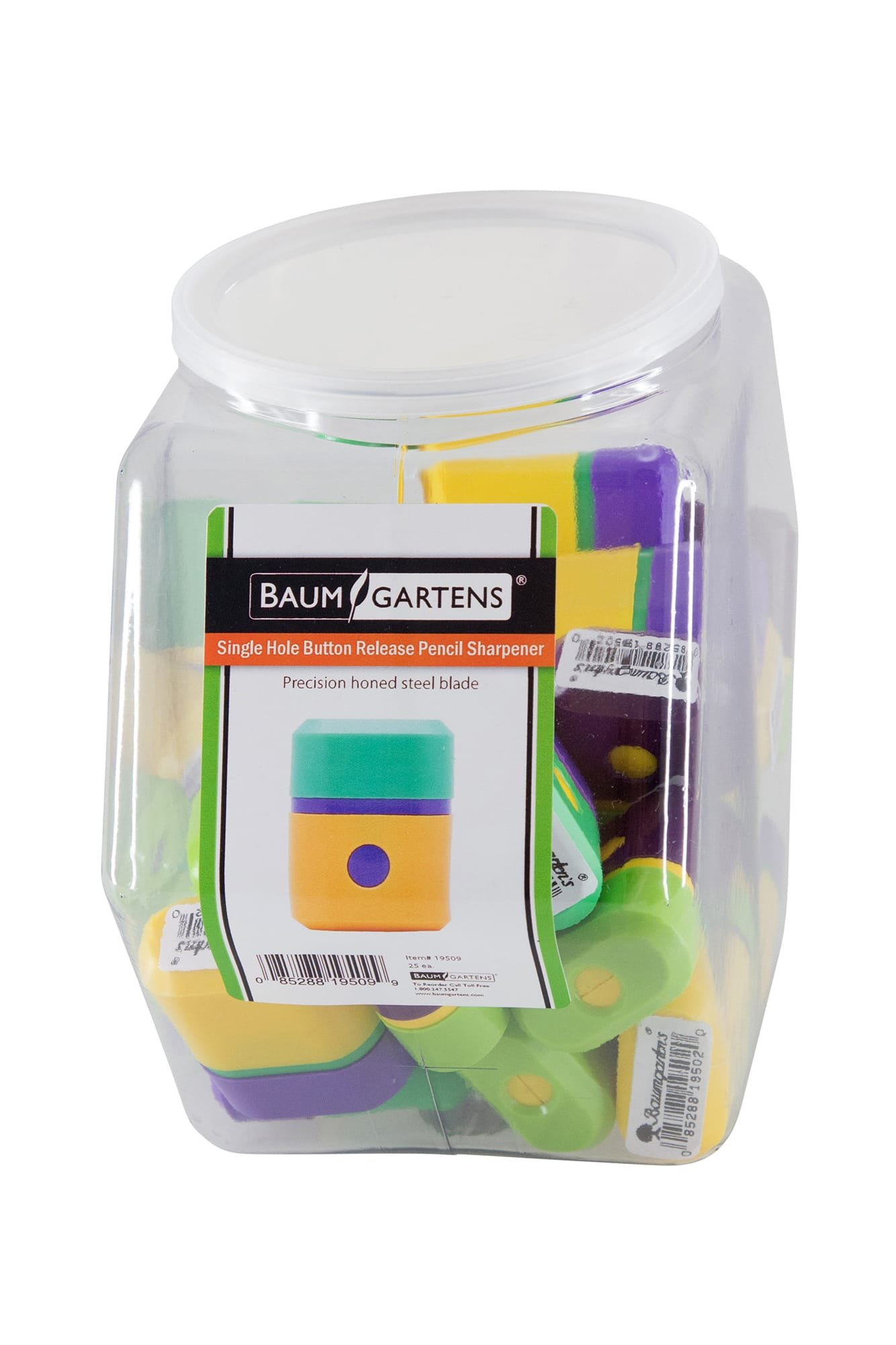 Baumgartens Pencil Sharpeners Button Release Single Hole Hexagonal Tub Display of 40 Assorted Colors (19519)