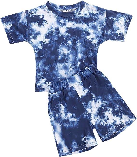 Toddler Baby Boy Girl Pajamas Set Tie Dye Long Sleeve T-Shirt Tops Pants Set 2 Piece Pajamas Set Fall Winter Clothes