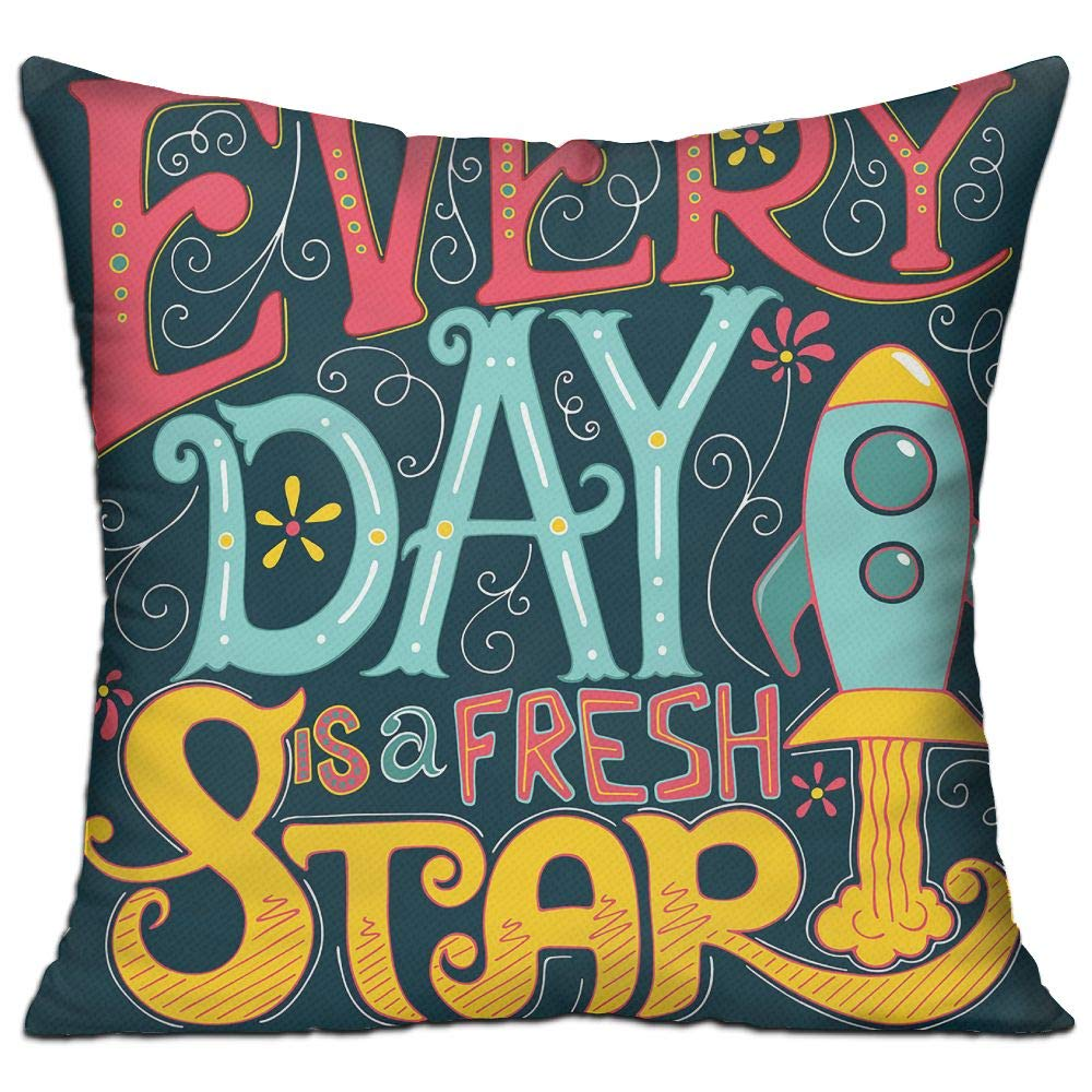 ZMLSJY Soft Square Throw Pillow Every Day Is Start Decorative Throw Pillows Include Filling 18 X 18 Inch