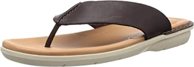 Clarks Polyflex Post Sandal For Men Size 41 EU (91261281437070_Brown Leather_7)