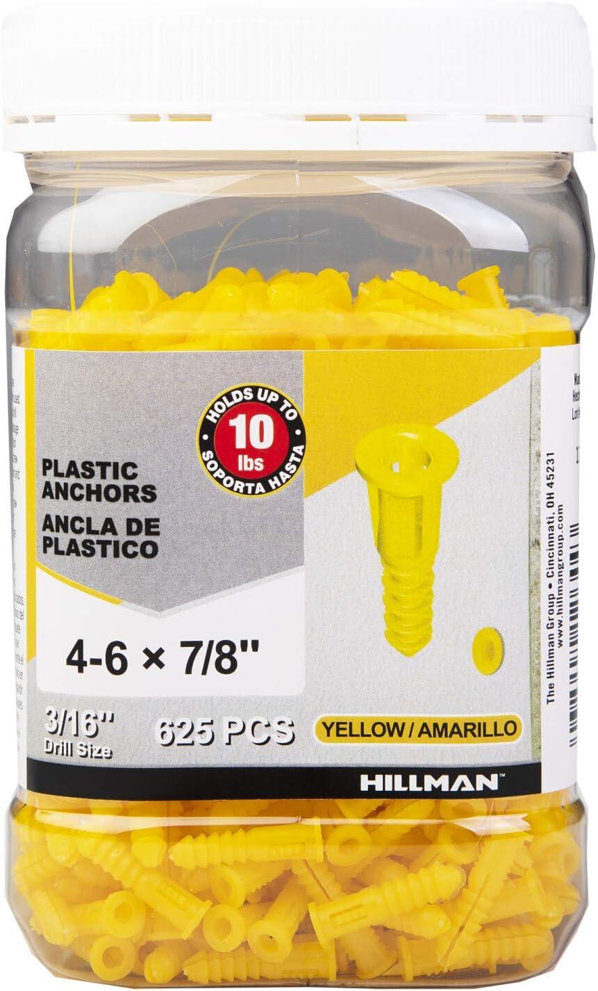 Hillman Plastic Wall Anchors 4-6X7/8In Jar 625Ct - Yellow