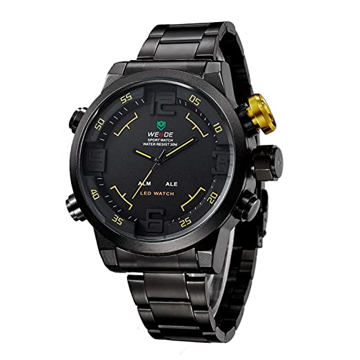 Amazon.com: Mens LED Watch Dual Time Date Day Black Sport Military Metal Band Yellow Hands WH-154: Watches