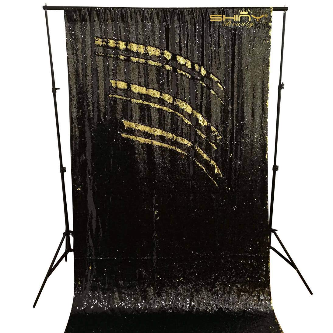 Mermaid Backdrops 20FTx10FT Reversable Gold&Black Shimmer Sequin Fabric Sewing Photography Backdrop Shower Curtain Set ~0906S