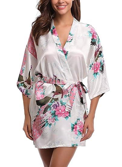 Satin Chemise Kimono Uniquestyle Robe Peignoir Fleurs De Nuit Vêtements Femme Paon 1TlJ3FKc