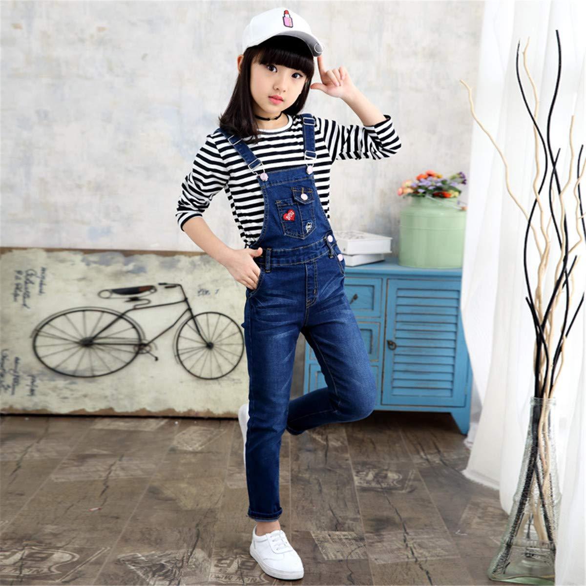 Big Girls Kids One Piece Classic Distressed Denim Suspender Bib Overalls Jeans Strecthy Ripped Jeans Romper Jumpsuit