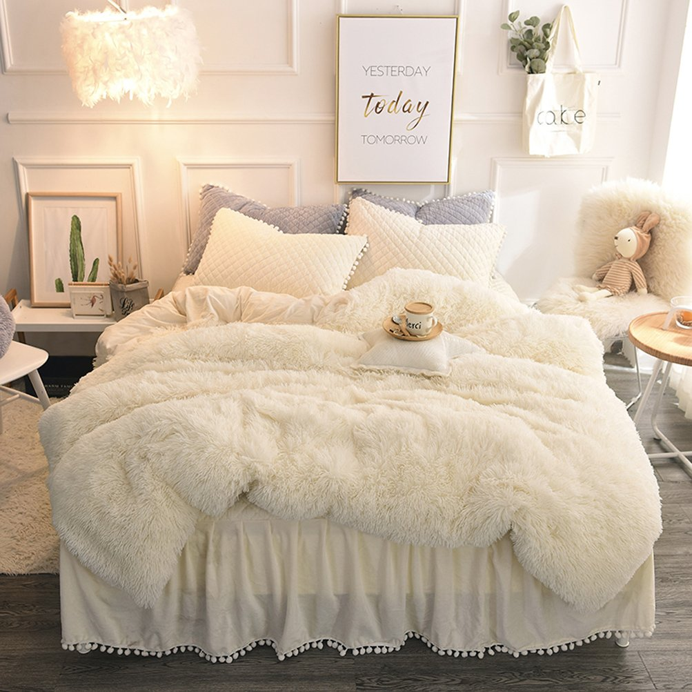 LIFEREVO Luxury Plush Shaggy Duvet Cover Set (1 Faux Fur duvet cover + 2 Pompoms Fringe Pillow Shams) Solid, Zipper Closure (King Beige)