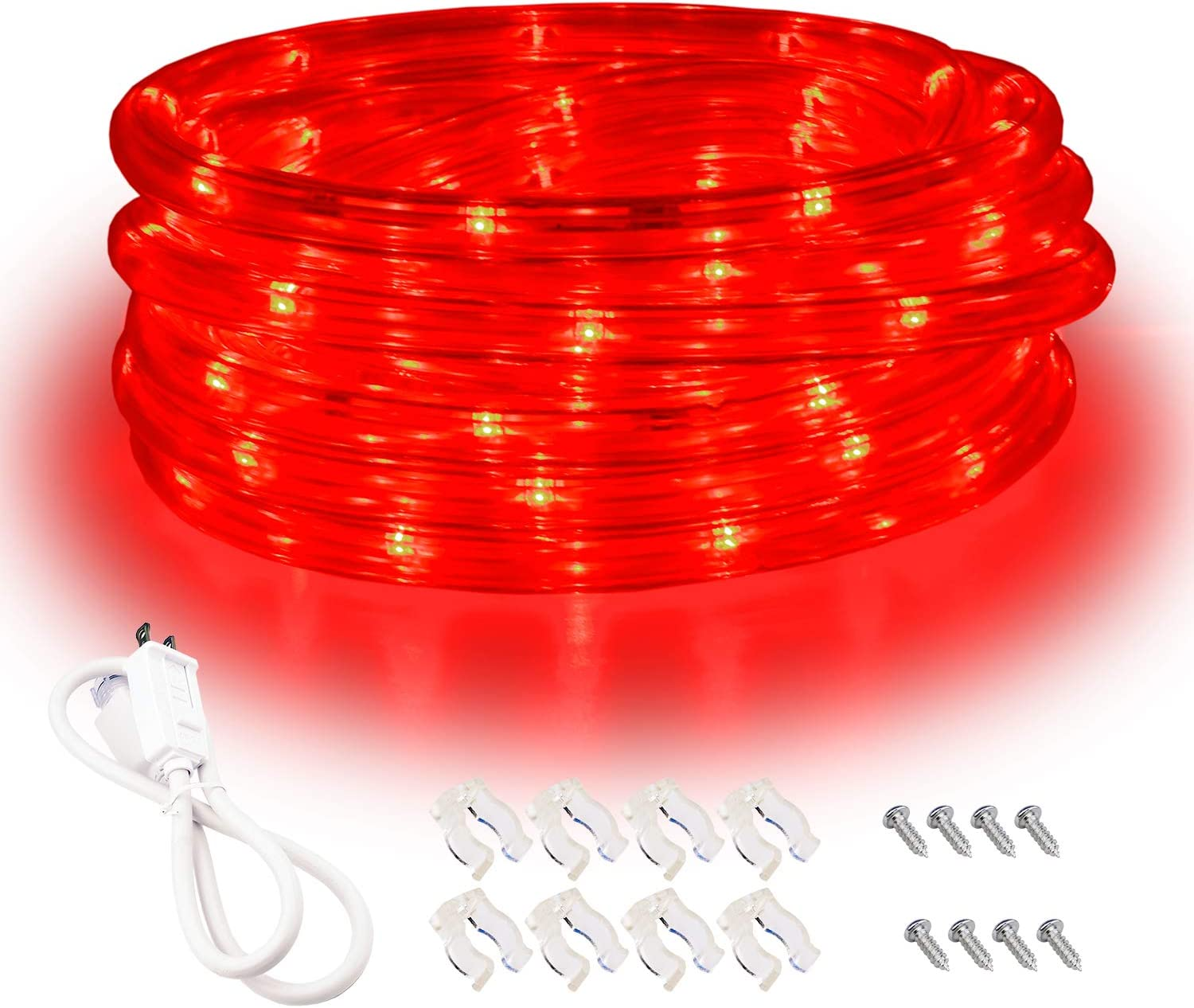 Red LED Lights, 16ft Rope Lights, Flexible and Connectable Strip Lighting, Waterproof for Indoor Outdoor Use, 360 Beam Angle, High Brightness for Home Christmas Thanksgiving Halloween