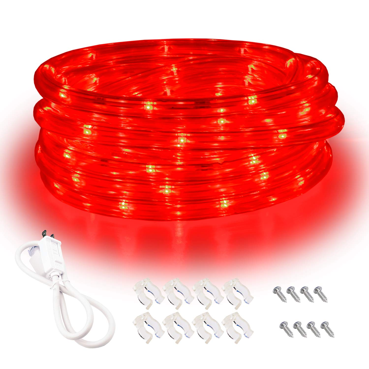 Red LED Lights, 16ft Rope Lights, Flexible and Connectable Strip Lighting, Waterproof for Indoor Outdoor Use, 360 Beam Angle, High Brightness for Home Christmas Thanksgiving Halloween by Areful