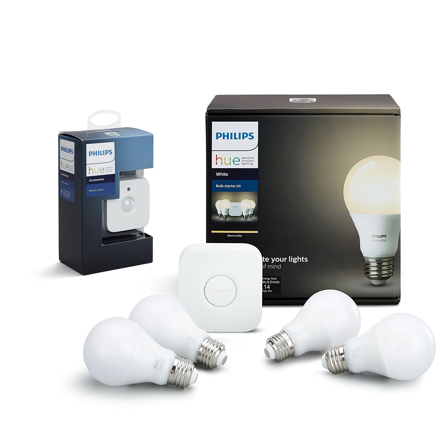 Philips Hue White LED Smart Bulb Starter Kit with Motion Sensor Bundle (Compatible with Amazon Alexa, Apple HomeKit, and Google Assistant)
