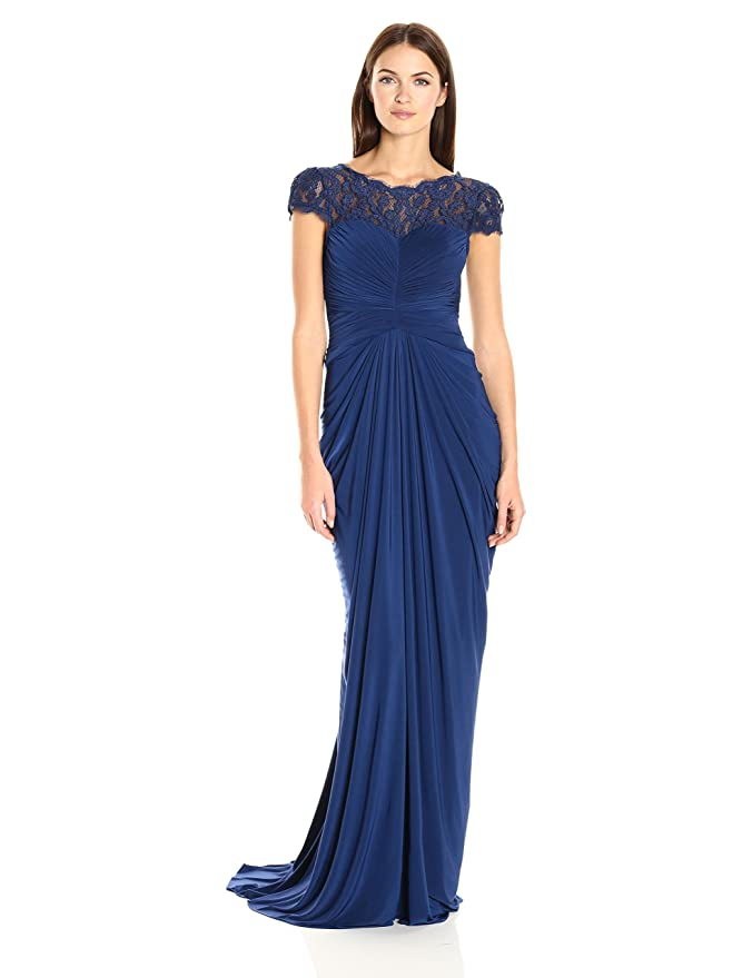 Amazon.com: Adrianna Papell Women\'s Short Sleeve Lace & Jersey Gown ...