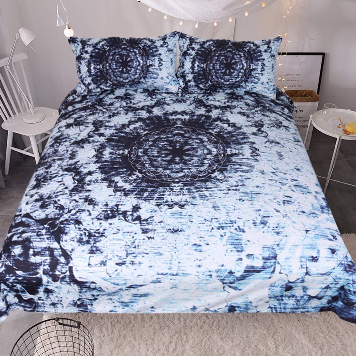Sleepwish Indigo Blue Tie Dye Ink Bedding Watercolor Mandala Boho Gypsy Bedding Duvet Cover Retro Bed Set (Full)