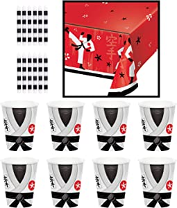 Creative Converting Karate Party Table Decor Bundle | Cups, Table Cover, Cake Candles | Martial Arts Birthday Decoration, Ninja Baby Shower