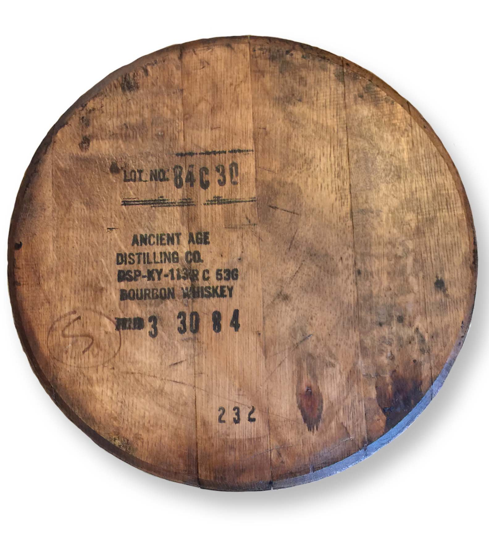 Vintage Stamped Whiskey Bourbon Barrel Lazy Susan, 21-Inches by Rustic Wall Co.