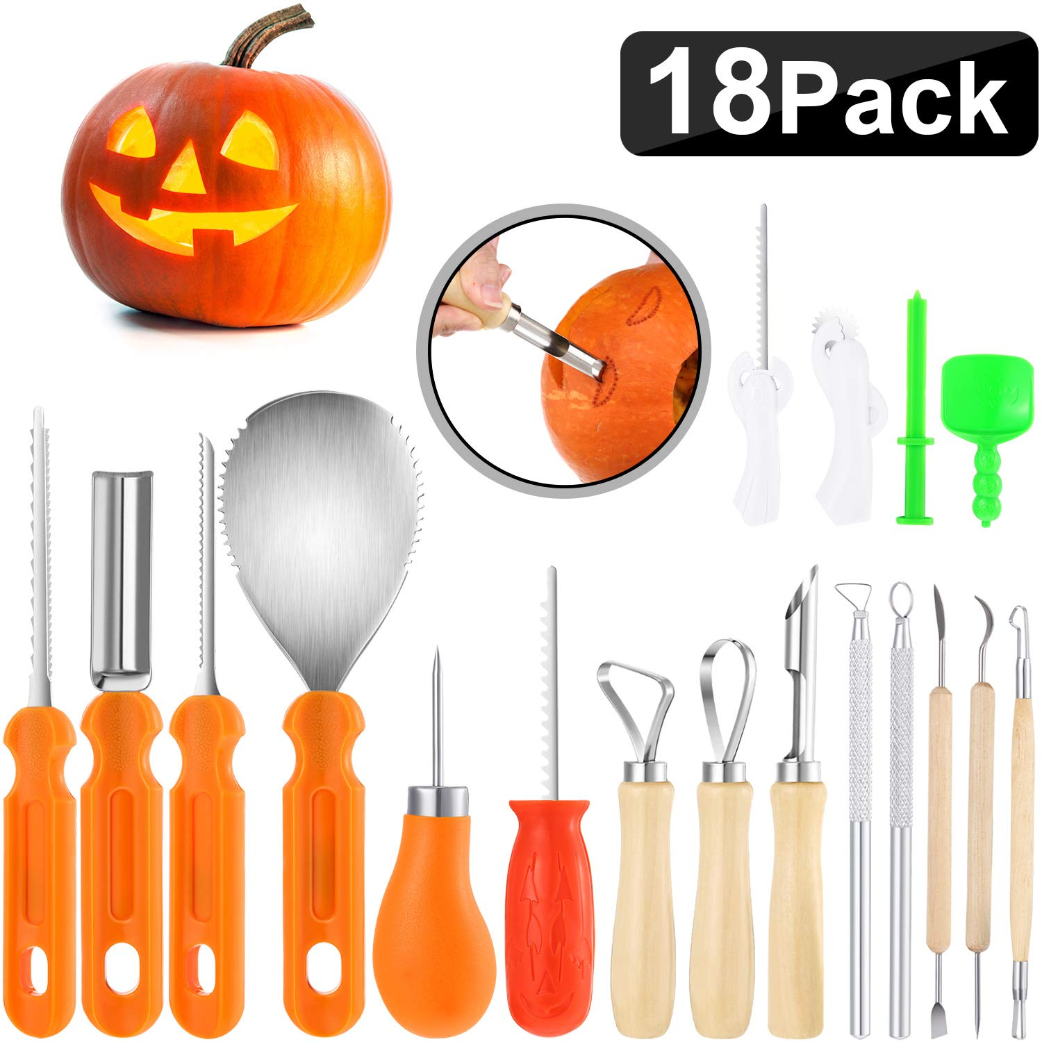 18 Pack Halloween Pumpkin Carving Kit, Includes 8 Pack Stainless Steel Pumpkin Carving Tools, 5 Pack Sturdy Fruit Engrave Tool, 5 Pack Pumpkin Stencil and Carving Set by Mudder