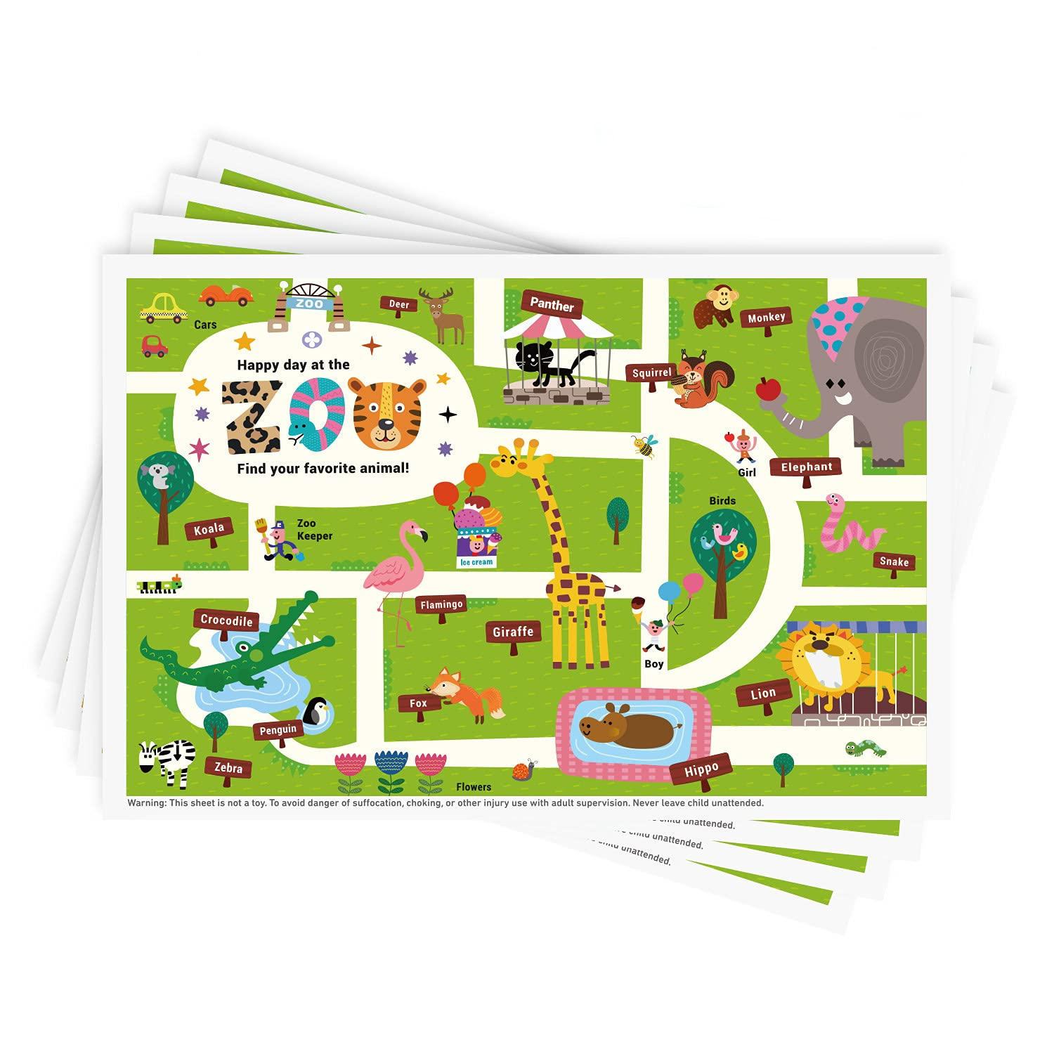 Disposable Stick-on Placemats 40 Pack for Baby & Kids, Restaurant Table Topper Mat 12