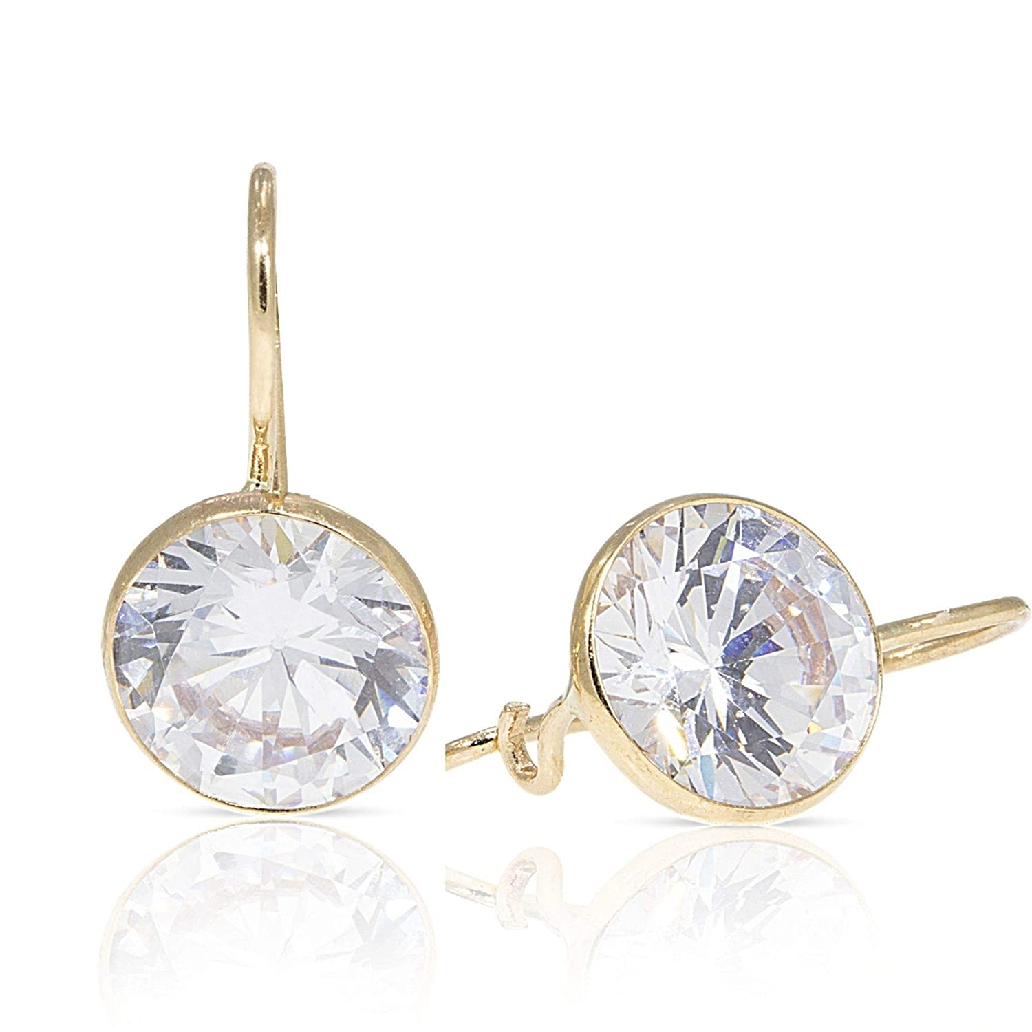 Details about  /14K Solid Yellow Gold 12mm White Zircon Handmade Drop Earrings Thanksgiving Sale