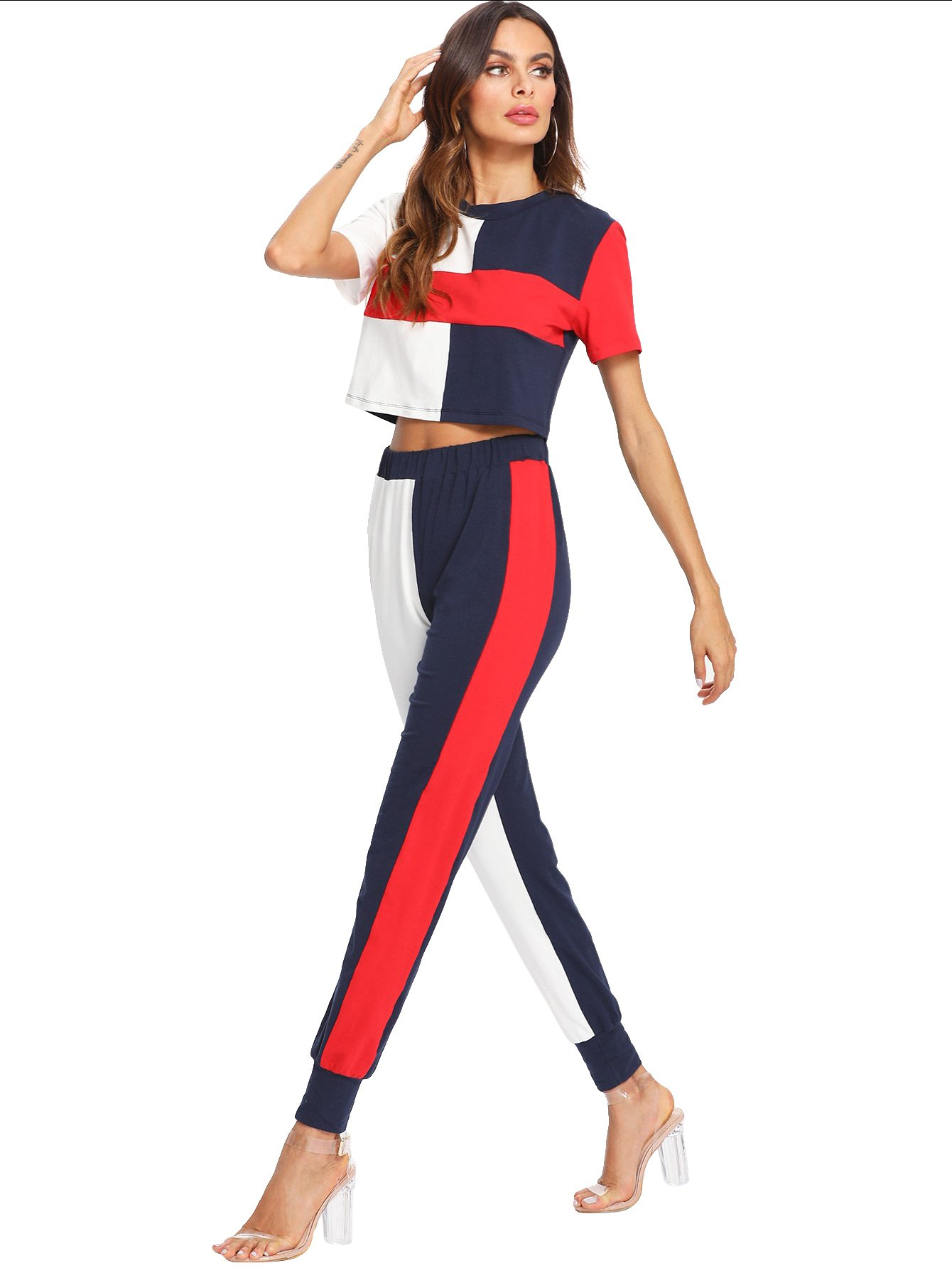 SweatyRocks Women's 2 Piece Outfits Elegant Color Block Crop Tops and Sweatpants Tracksuits Color Block M