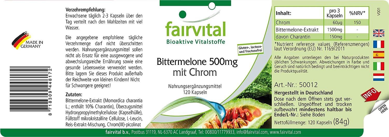 melón amargo 500mg con cromo - para 40 DÍAS - gran dosificación - VEGANO - 120 cápsulas - con 10% de Charantina: Amazon.es: Salud y cuidado personal