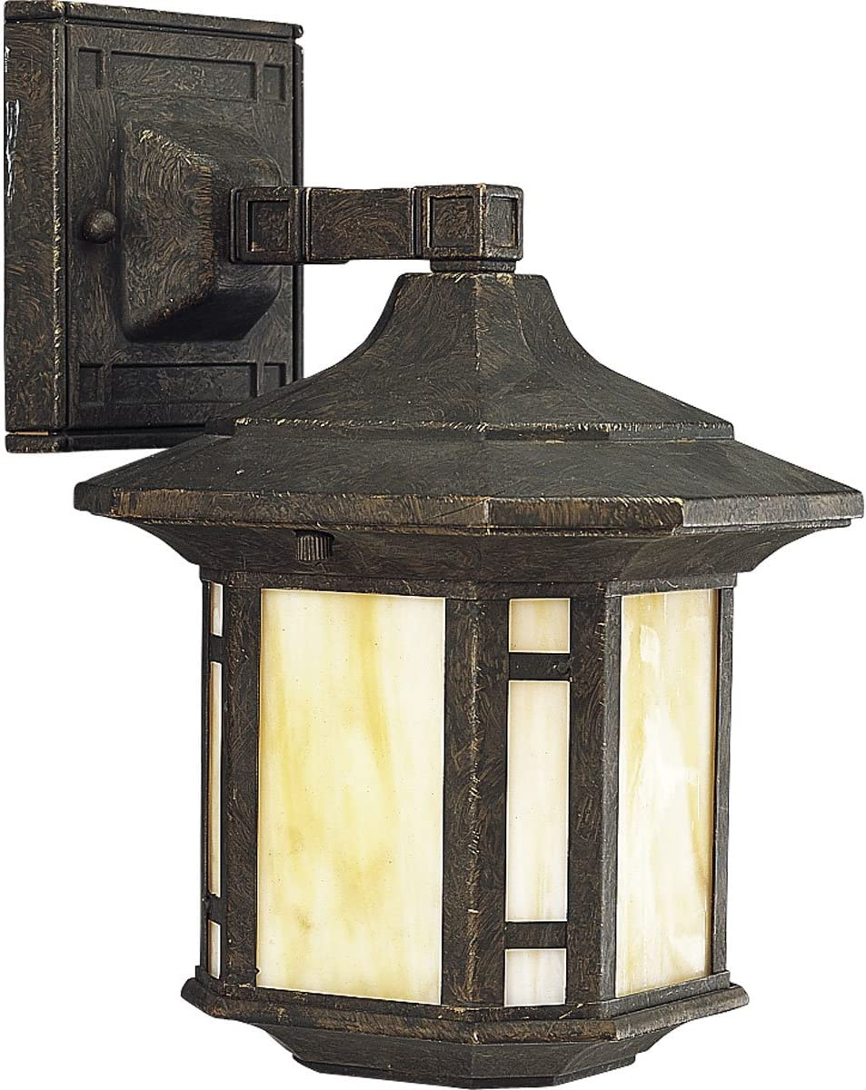 Progress Lighting P5628-46 1-Light Wall Lantern with Honey Art Glass and Mica Accent Panels, Weathered Bronze