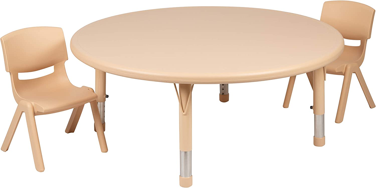"""Flash Furniture 45"""" Round Natural Plastic Height Adjustable Activity Table Set with 2 Chairs"""