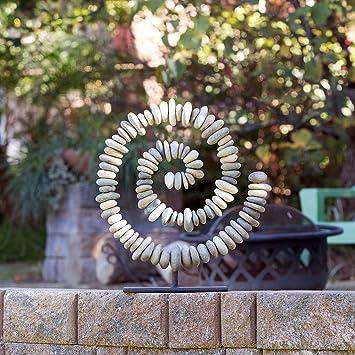 Natur Fluss Gestapelt Stein Ring Auf Stander Zen Garten Deko Statue