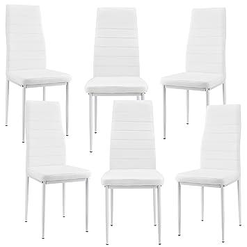 [en.casa]®] 6 x sillas de Comedor (Blancas) tapizadas de Cuero sintético de Alta Calidad/Set de sillas de Cocina