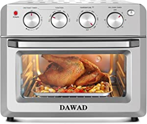 DAWAD Toaster Oven Air Fryer Combo, Countertop Convection Oven with 4 Accessories & Recipes, Easy Clean, Stainless Steel, Silver