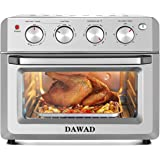 DAWAD Toaster Oven Air Fryer Combo, Countertop Convection Oven with 4 Accessories & Recipes, Easy Clean, Stainless Steel, Sil
