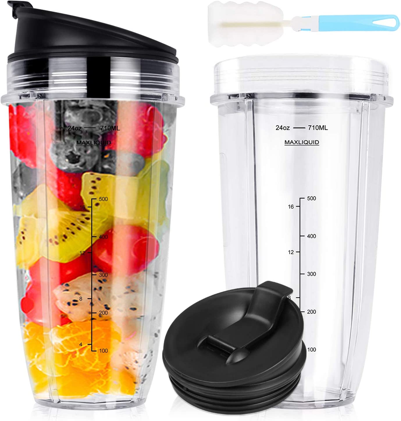 Replacement blender For Nutri Ninja 24 Oz Cups Auto iQ BL450 BL454 BL456 BL480 BL481 BL482 BL490 BL640 BL642 BL682 Nutri Ninja Blender Auto iQ Series with Seal Lid & 1pc Brush (2 Pack) (24OZ)