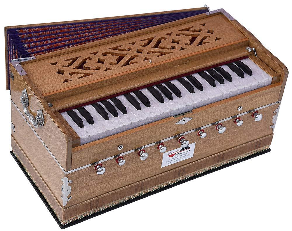 Harmonium Pro Grade By Kaayna Musicals, 9 Stop- 5 Main & 4 Drone, 3½ Octave, Teak Colour, Coupler, Gig Bag, Bass/Male- 440Hz, Suitable for Yoga, Bhajan, Kirtan, Shruti, Mantra, Meditation, etc