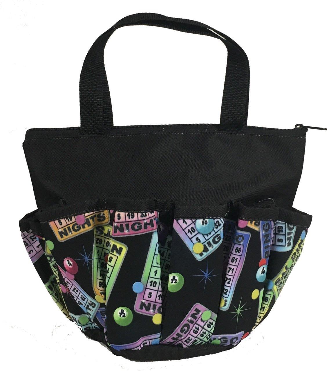 10 Pocket Bingo Night Black Zipper Bingo Bag