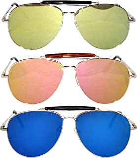 2b120c8d1 Amazon.com: 3 pairs Classic Aviator Sunglasses Full Mirror Lens (03 ...