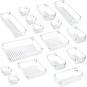 Kootek 16 Pcs Desk Drawer Organizer Set 5-Size Bathroom Drawer Tray Dividers Versatile Storage Bins Plastic Vanity Trays Organizers Divider Container for Dresser Makeup Kitchen Utensil Office