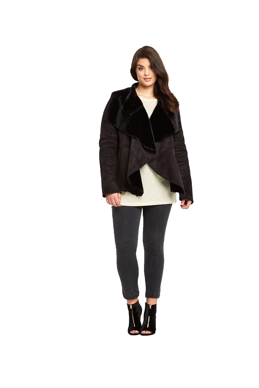 So Fabulous Suedette Fur Lined Waterfall Coat