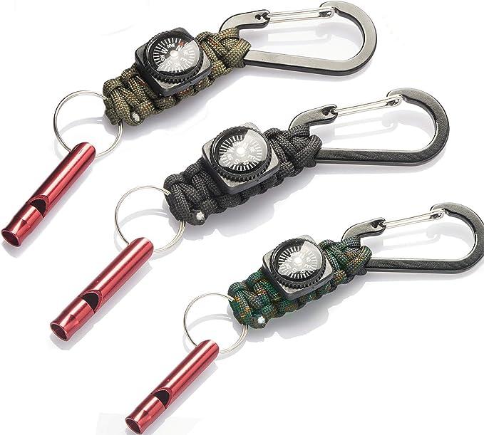 TOLIANCLE Juego de 3 llaveros de supervivencia paracord con mosquetón y silbato de supervivencia para senderismo, supervivencia al aire libre y ...