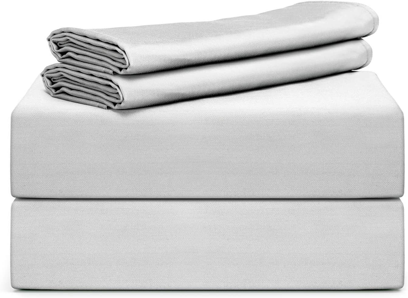 """Tafts Bamboo Sheets Full Size - 100% Pure Organic Viscose Bamboo Sheet Set - 400TC Bamboo Bed Sheets - 3 Pieces - 17"""" Deep Pocket - Silk Feel, Cooling, Anti-Static, Hypoallergenic (Light Grey)"""