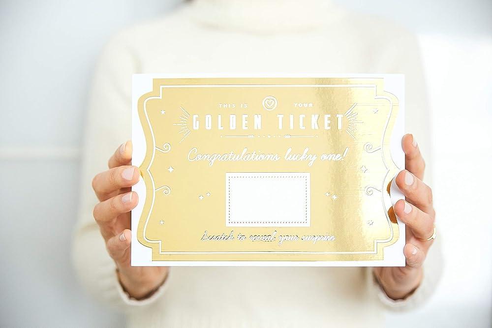 1 PERSONALISED GOLDEN TICKET ADULT//CHILDREN GIFT TICKET W//ENVELOPE