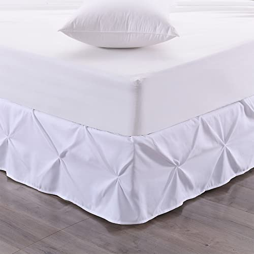 Sweet Home Collection Pinch Pleat Bed Skirt Pin Tuck Dust Ruffle with 14 Drop, Twin, White