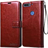 Bracevor Flip Cover Case | Premium Leather | Inner TPU | Foldable Stand | Wallet Card Slots for Huawei Honor 7C - Executive Brown