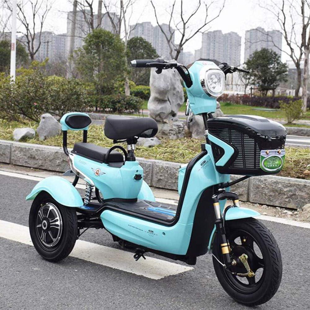 XYDDC Portátil al Aire Libre para Adultos Ancianos discapacitados Scooter batería de Litio 48V20A One-Touch Mini Remote Control eléctrico del Triciclo,Azul