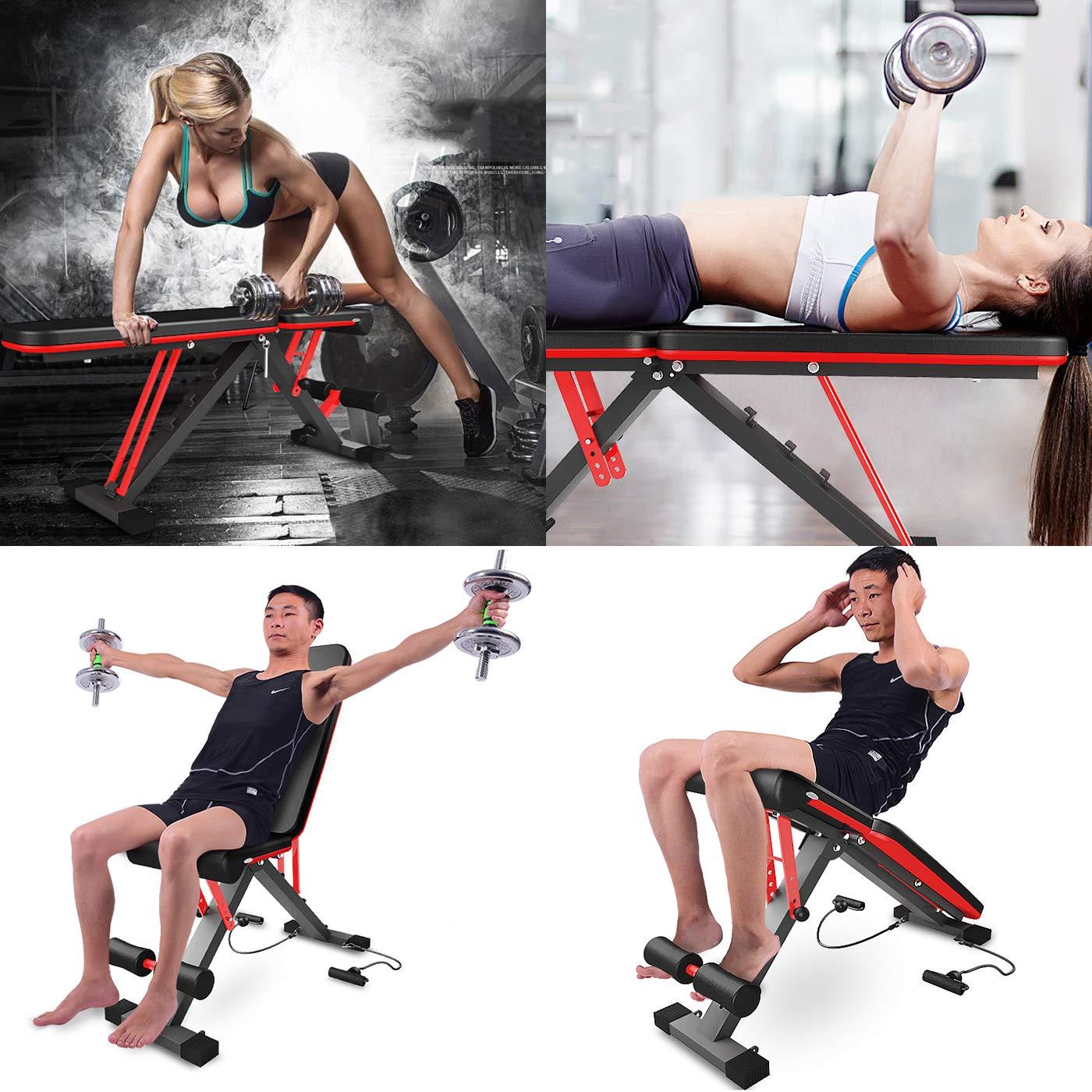 ... portátil Fitness, Banco de Servicios múltiples Posiciones, Entrenamiento de Cuerpo Completo Banco con mancuerna: Amazon.es: Deportes y aire libre