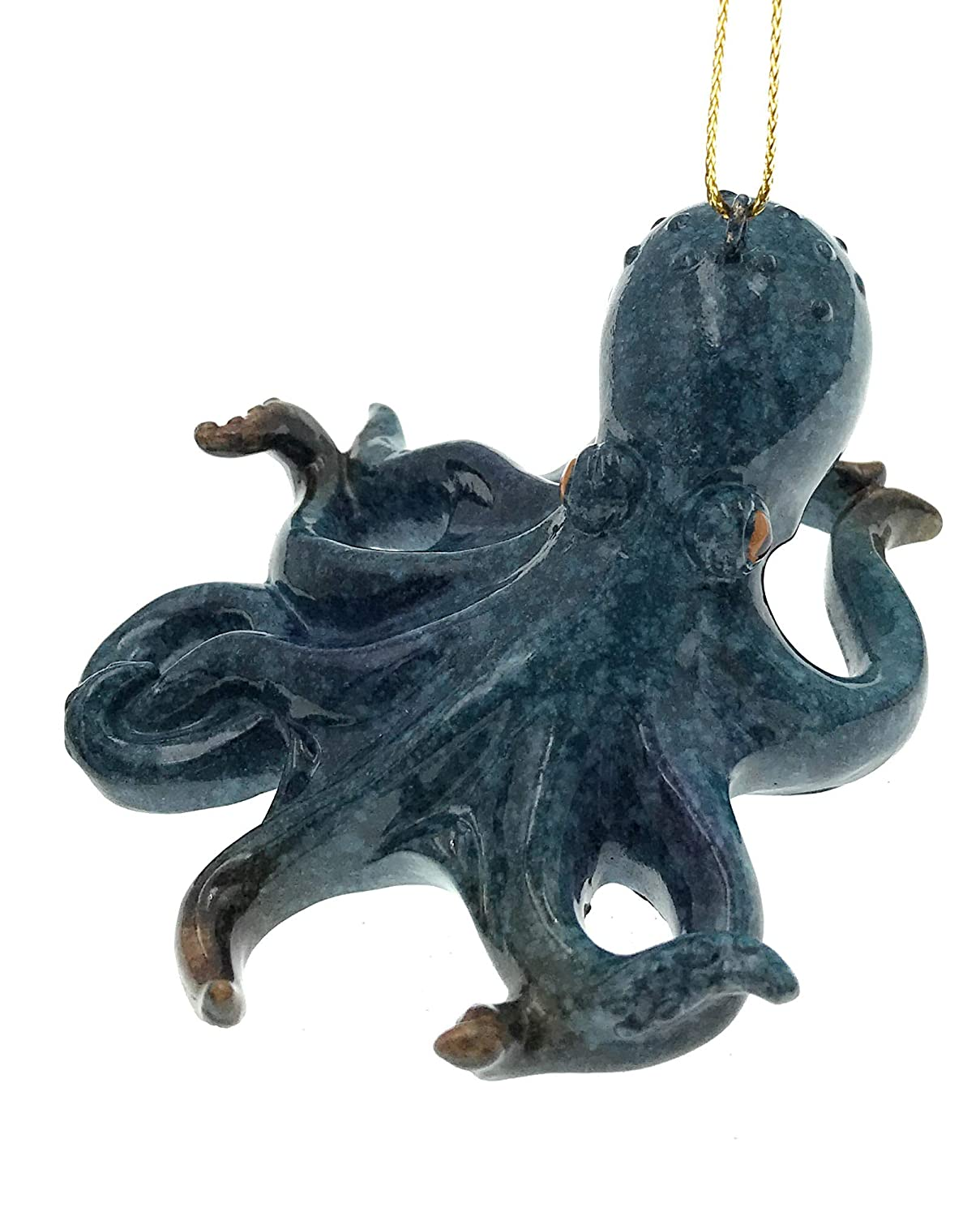 Value Arts Blue Octopus Christmas Ornament 3.25 Inches Diameter
