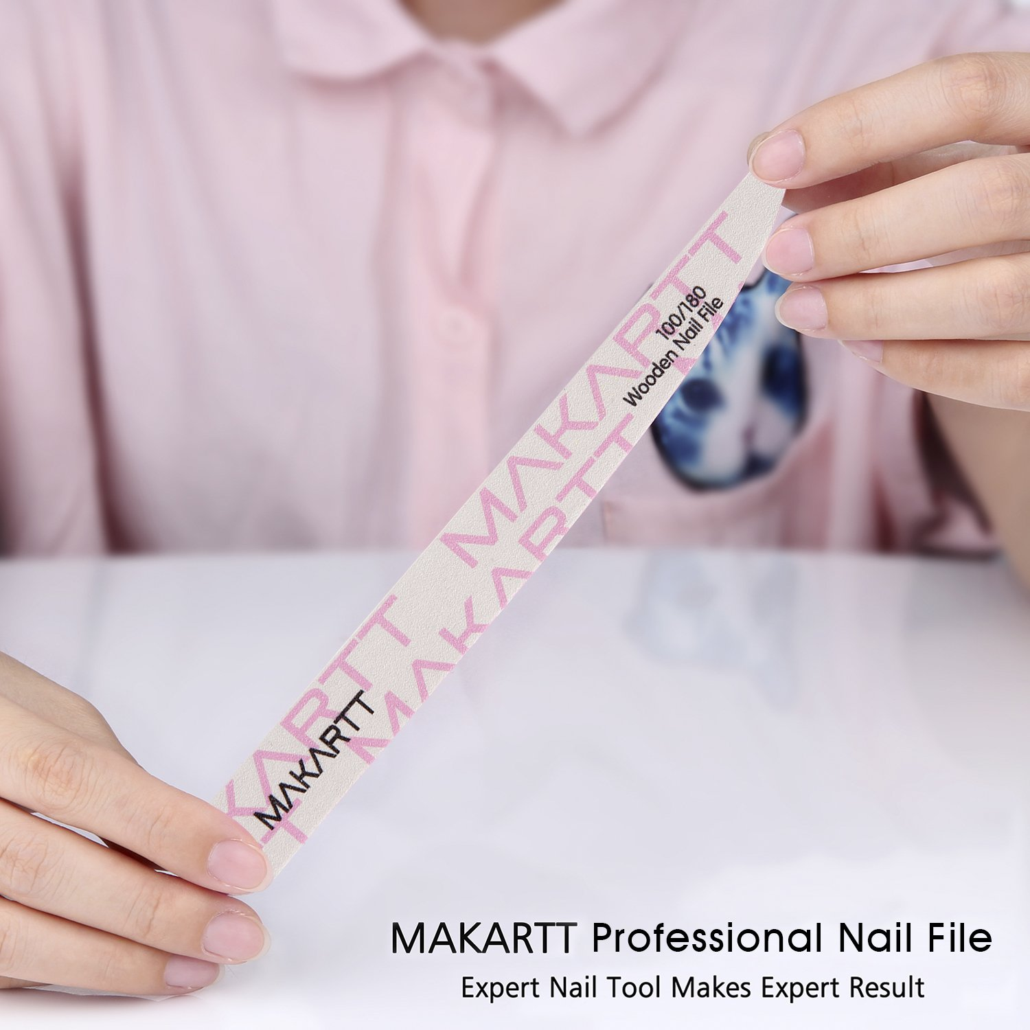 Amazon.com : MAKARTT Professional Nail File 100 180 240 Grit Wooden ...