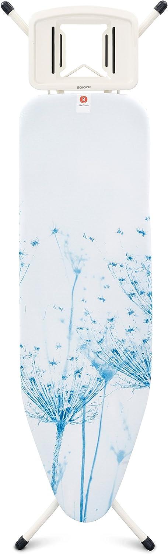 Brabantia 108822 -Mesa de planchar, Soporte sólido para planchas de vapor, Estructura Blanco Puro, Multicolor (Cotton Flower), 124 x 38 cm, metal;algodón