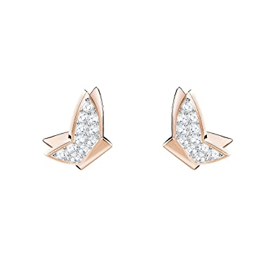 147d10140 Swarovski Lilia Fig Pierced Earrings, White, Rose gold plating:  Amazon.co.uk: Jewellery