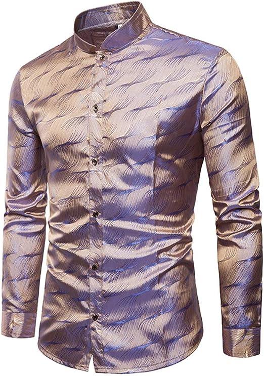 Camisa de Hombre Tencel para Hombre patrón metálico Brillante Discoteca Slim Fit Cuello de Solapa Camisa de Manga Larga con Botones para la Fiesta Disco Camisa de Vestir Ajustada Camisa Casual: Amazon.es: