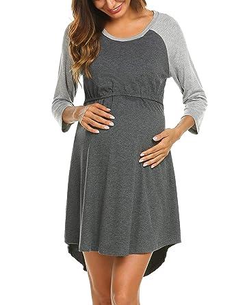 6c83658b484 Goldenfox Soft Nursing Pajamas for Women Breastfeeding Sleepwear Pregant  Night Dress (Dark Gray