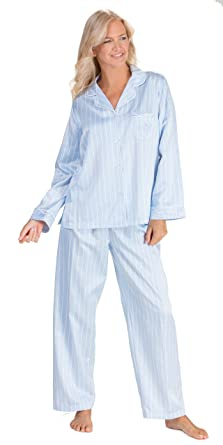 Brushed Back Satin Miss Elaine Pajamas in Blue Stripe (X-Large 594699417