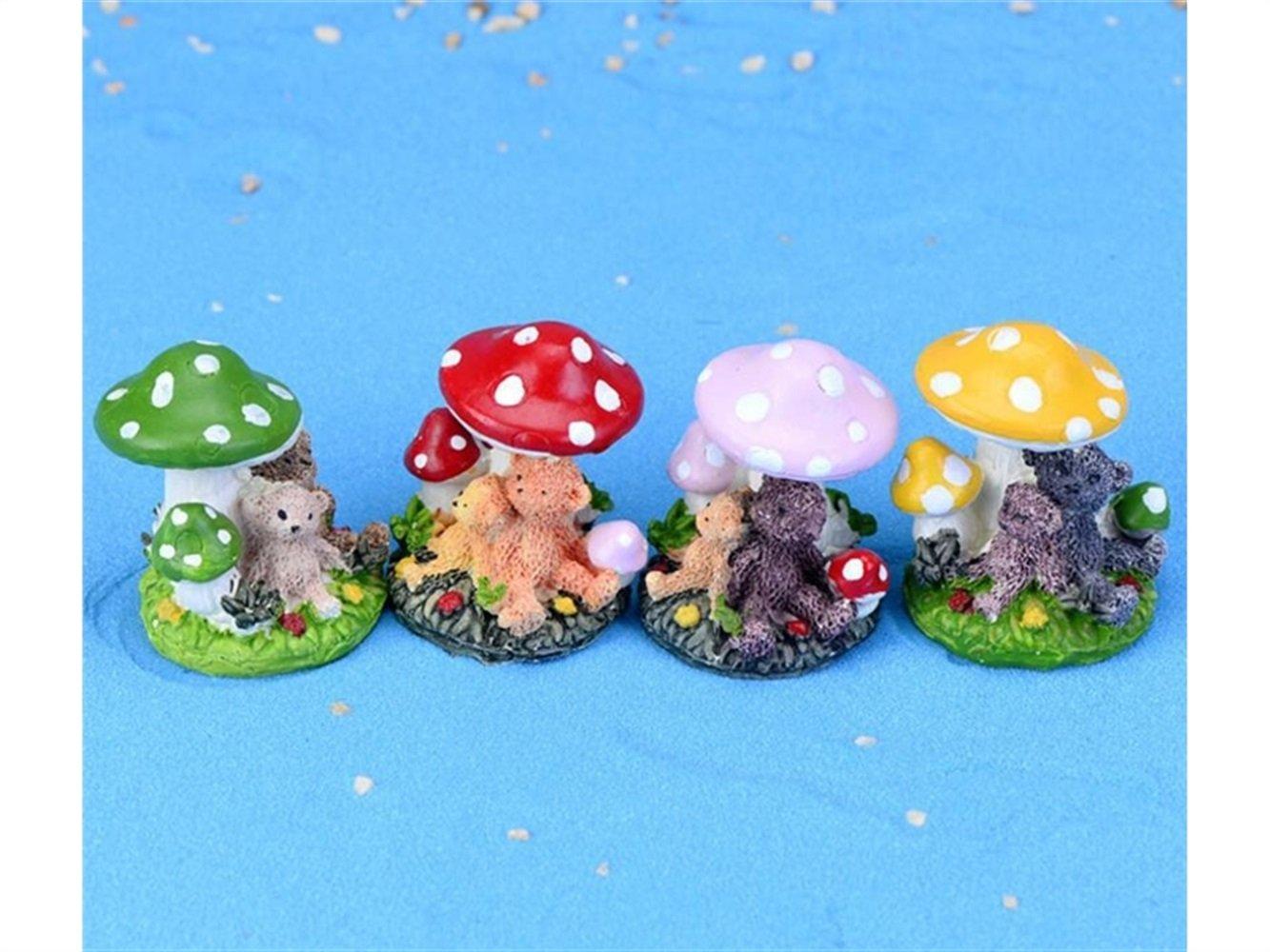 FERFERFERWON Ornamento in Miniatura 1 Pz in Miniatura Resina Orso Fungo Fairy Garden Micro Ornamenti Paesaggio Decorazione della casa (Colore Casuale) Decorazione per casa delle Bambole