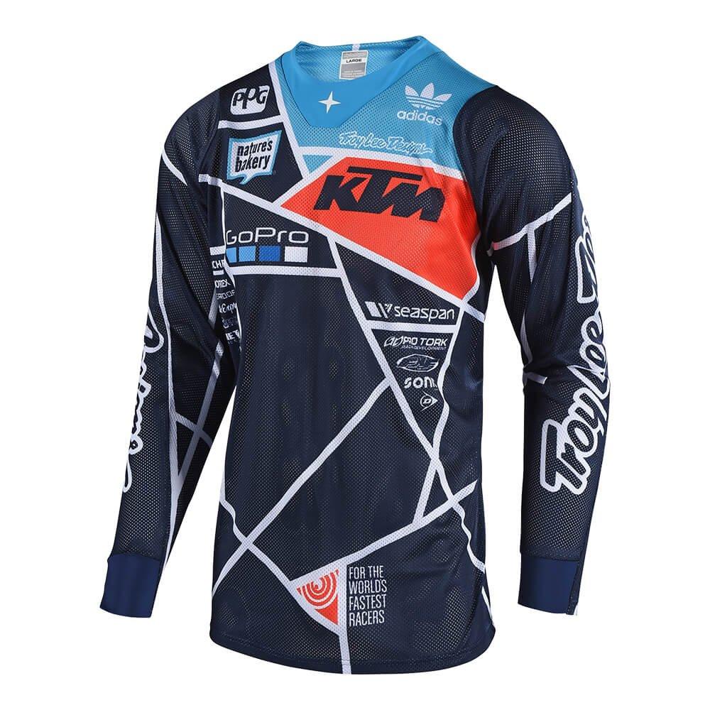 Troy Lee Designs Men's Off-Road Motocross Motorcycle SE Air Metric Jersey (Navy/Orange, Small)